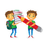 Vector boys with big school bags set Royalty Free Stock Photo