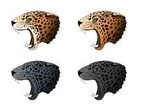 Vector boze panter, poemaportret De roofdier hoofd kleurrijke reeks van Jaguar royalty-vrije illustratie
