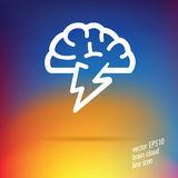 Vector brain cloud thin line icon Royalty Free Stock Image