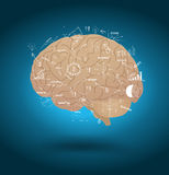 Vector brain with drawing business strategy plan. Vector creative brain with drawing business strategy plan concept idea Royalty Free Stock Images
