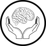 Vector brain in hands icon. Black and white. Simply change Royalty Free Stock Photography