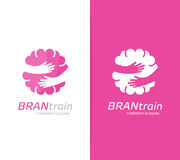 Vector brain and hands logo combination. Education and embrace symbol or icon. Unique science and idea logotype design Royalty Free Stock Photography