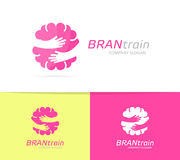 Vector brain and hands logo combination. Education and embrace symbol or icon. Unique science and idea logotype design Stock Image
