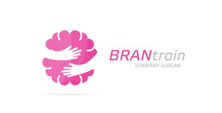 Vector brain and hands logo combination. Education and embrace symbol or icon. Unique science and idea logotype design Stock Photo