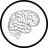 Vector brain icon. Black and white. Simply change Stock Photography
