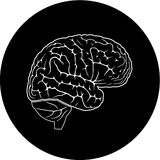 Vector brain icon. Black and white. Simply change Stock Images