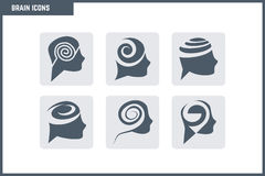 Vector Brain Icon Set. Many business areas of the brain used for visual Royalty Free Stock Images