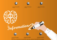 Vector brain of the idea of a businessman with hands, magic pen, business icon, flat design. Royalty Free Stock Photo