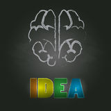 Vector brain and idea text creative concept background Royalty Free Stock Images