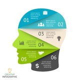 Vector brain infographic. Template for human head diagram, artificial intelligence graph, neural network presentation Royalty Free Stock Photography