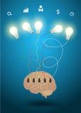 Vector brain with light bulb idea concept Royalty Free Stock Photo
