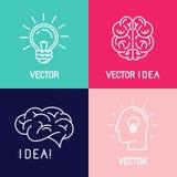 Vector brain logo design elements Royalty Free Stock Image