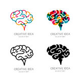 Vector brain logo, sign, or emblem design elements. Outline color human brain, isolated icon. Royalty Free Stock Image