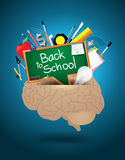 Vector brain mixed school supplies idea concept Royalty Free Stock Photography