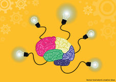 Vector brainstorm creative ideas with bulb brain cogs yellow background. flat design Stock Photos