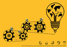 Vector brainstorming business ideas, the concept consists of a light bulb and gears world map icons flat design Royalty Free Stock Photo