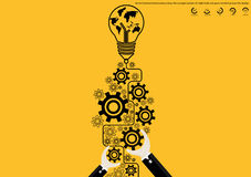 Vector brainstorming business ideas, the concept consists of a light bulb and gears world map icons flat design. Vector brainstorming business ideas, the concept Royalty Free Stock Images