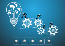 Vector brainstorming business ideas, the concept consists of a light bulb and gears world map icons flat design. Vector brainstorming business ideas, the concept Stock Photo