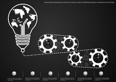 Vector brainstorming business ideas, the concept consists of a light bulb and gears world map icons flat design. Brainstorming business ideas, the concept Stock Image