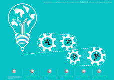 Vector brainstorming business ideas, the concept consists of a light bulb and gears world map icons flat design. Brainstorming business ideas, the concept Stock Images