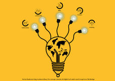 Vector brainstorming business ideas, the concept consists of a light bulb and a world map icons flat design Stock Photos