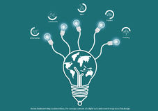 Vector brainstorming business ideas, the concept consists of a light bulb and a world map icons flat design. Vector brainstorming business ideas, the concept Stock Photography