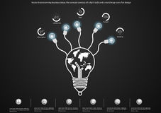 Vector brainstorming business ideas, the concept consists of a light bulb and a world map icons flat design. Brainstorming business ideas, the concept consists Royalty Free Stock Image
