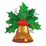Vector branch with leaves and berries of Ilex or Holly berry and ornate golden bell on white background. Traditional Christmas and Happy New Year symbol in vector illustration