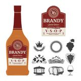 Vector brandy label on a bottle. Distilling business branding and identity icons and design elements stock illustration