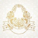Vector a brasão romântica com as flores, fitas, folhas Fotos de Stock Royalty Free