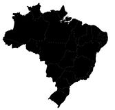 Vector Brazil map. Blind map of Brazil with regions borders