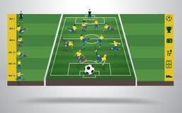 Vector Braziliaanse voetbalvoetbalster in differe Stock Foto's