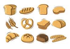 Vector bread. Icons set on white stock illustration
