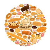 Vector bread and pastry sweets for bakery shop. Bakery shop poster for patisserie or cafeteria. Vector design of baker chef hat with bread and cake, marmalade or royalty free illustration