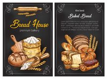 Vector bread sketch posters for premium bakery. Bakery shop sketch posters design of bread, flour sack bag and sweet baked pastry. Vector wheat loaf and rye royalty free illustration
