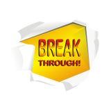 Vector break through paper. White isolated break through paper Stock Photo
