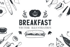 Vector breakfast, food hand drawn illustration Stock Photo