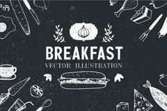 Vector breakfast, food hand drawn illustration Stock Images