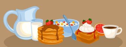 Vector breakfast food set Stock Photos