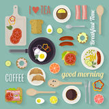 Vector breakfast time illustration with flat icons. Fresh food and drinks in flat style. Royalty Free Stock Image