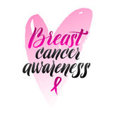 Vector Breast Cancer Awareness Calligraphy Poster Design. Stroke Pink Ribbon.  Stock Images