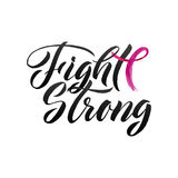 Vector Breast Cancer Awareness Calligraphy Poster Design. Stroke Pink Ribbon. October is Cancer Awareness Month Royalty Free Stock Image