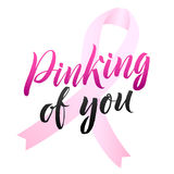 Vector Breast Cancer Awareness Calligraphy Poster Design. Stroke Pink Ribbon. October is Cancer Awareness Month Stock Photo