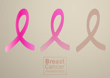 Vector Breast cancer awareness pink ribbon on white background. Stock Photography