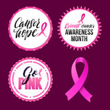 Vector Breast Cancer Awareness Ribbon and Badges. Calligraphy Design Royalty Free Stock Photography