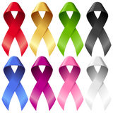Vector breast ribbons set isolated on white Stock Photography