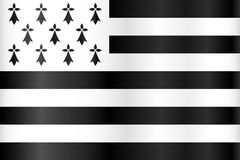 Vector breton flag - flag of Brittany, France Royalty Free Stock Photo