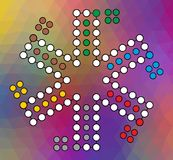 Vector Brett für ein Familienspiel Ludo zu sechs Spielern auf einem Rot farbigen Hintergrund stock abbildung