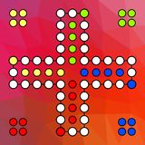 Vector Brett für ein Familienspiel Ludo zu vier Spielern auf einem Rot farbigen Hintergrund vektor abbildung