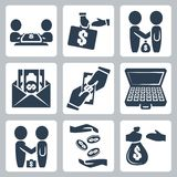 Vector bribe/bargain icons set Royalty Free Stock Photo